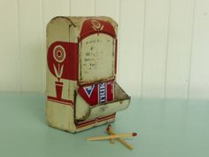 RARE Primitive Metal Matchbox Holder Safe, Original Red and Creamy White Painted Finish, Antique  - Vintage Home and Travel Trailer Decor on Etsy, $32.00