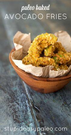 Paleo Baked Avocado Fries | stupideaspaleo.com #paleo #realfood #glutenfree baked avocado fries, paleo avocado recipes, bake avocado, food avocado, paleo avocado fries, avocado paleo