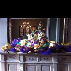 Mardi Gras Centerpiece  with masks and mesh
