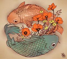 poppy and koi fish tattoo