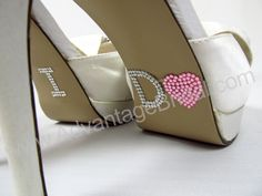 I Do Shoe Stickers for Bridal Shoes - Pink $8.95; available in many colors; rhinestone heart shoe stickers; bride wedding shoe stickers