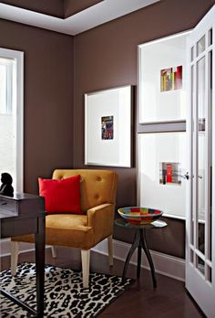 Brown's neutral, earthy tones give rooms a familiar and comfortable feel. See how you can use brown paint in rooms throughout your home.