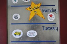 """""""What's Up Weekly"""" Board.  Love the idea of having a family calendar that the kids can identify with.  (From I Am Momma Hear Me Roar)"""