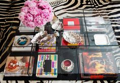 Coffee table with coffee table books