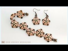 TheHeartBeading: Beaded bracelet and earrings with half tilas, superduos and pinch beads - YouTube