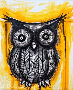 Owl Art Black and Yellow Print - 8x10 - acrylic sketch black and yellow ink owl painting art print. $15.00, via Etsy.