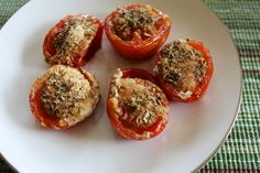 """Cheezy"" Roasted Tomatoes with nutritional yeast and dried oregano."