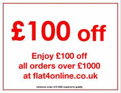 Enjoy £100 off all orders over £1000 at flat4online.co.uk