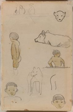 Paul Gauguin, Page from a Tahitian sketchbook, 1891, Graphite and watercolor on cream wove paper 107 x 167 mm. Art Institute of Chicago