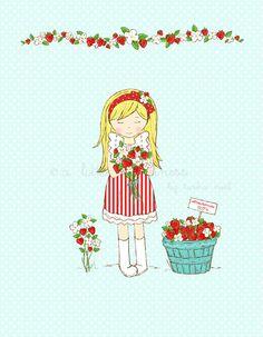 Fresh Strawberries Ilustration  Aqua by alittlesweetness on Etsy, $20.00