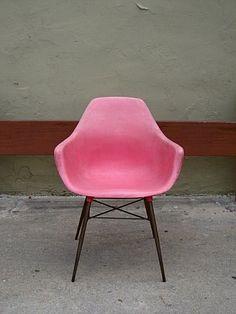 pink mid century modern chair