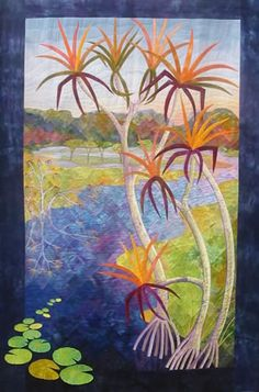"""Join Gloria Loughman for her """"Painting a Landscape with Fabric"""" class at Quilting Adventures' Spring Retreat April 21 - 25, 2015, at Jordan Ranch in Schulenburg, Texas. Visit www.quilting-adventures.com for full details!"""