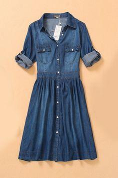 Half Sleeve Denim Dress with Buttons