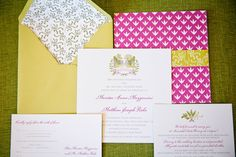 Pink and Gold Patterned Invitation Suite | Events of Distinction | Union Street Papery | Arrowood Photography | TheKnot.com