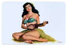 Hawaiian Pin Up Playing the Ukelele