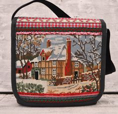 Winter cottage messenger bag.