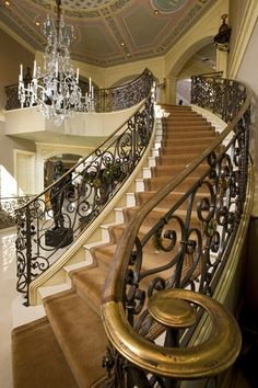 stairway, dream homes, grand entrance, grand staircas, staircase design, banisters, wrought iron, brass, dream houses