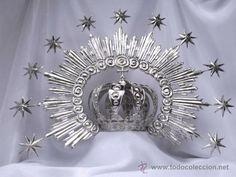Corona con Diadema para Virgen de 80 cms. Mide 9 cms. de diametro. (Antigüedades - Religiosas - Ornamentos Antiguos)