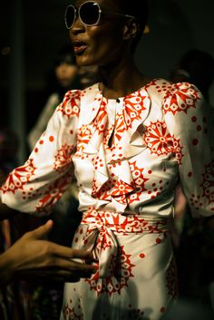 gorgeous dress, perfect print, red, white, pattern, modern, art, graphic impact, silky, bow, ruffles, 3/4 length sleeves, collarless, sunglasses style repin: duro olowu