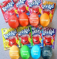 Because of the citric acid already in KoolAid, this technique requires no vinegar. Not only that, but at a general cost of 5 packets for $1, KoolAid makes for an inexpensive egg dying adventure!