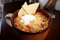 Crockpot Chicken Tortilla Soup. Have tried this and it turns out delicious!