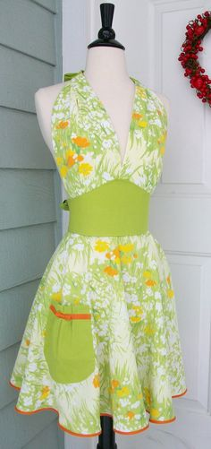 UpCycled Women's Apron Orange & Yellow Flowers on Lime Green by DrapesofWrath, $35.00
