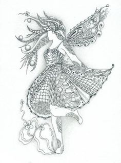 fairi zentangl, zentangle inspired art, fairies, color, fairi tangl, doodl, summer zentangle, photo galleries, sophist zentangl