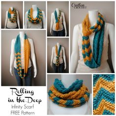 Rolling in the Deep Infinity Scarf ~ FREE crochet pattern including complete chart and print friendly PDF #cre8tioncrochet