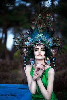 PoshFairytaleCouture headpiece via Etsy. peacock feathers, fairies, headpiec, colors, crown, couture, burlesque costumes, goddess, hat