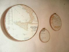 Maps framed for wall decoration