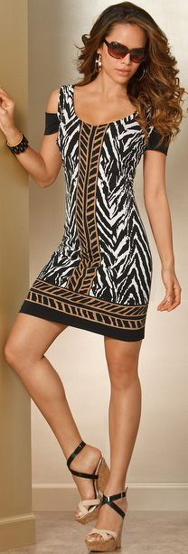 Cold Shoulder Zuma Print Dress | BuyerSelect.com