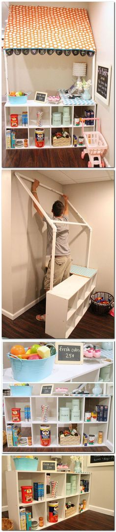dramatic play, kid rooms, playroom, reading nooks, groceri store, play areas, pvc pipes, grocery stores, play kitchens