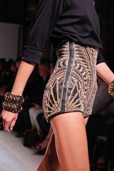 balmain, detail, bead, high waist, cloth, style, fashion outfits, hot pants, shorts