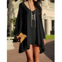 Stylish V-Neck Long Sleeve Hollow Out Chiffon Dress For Women