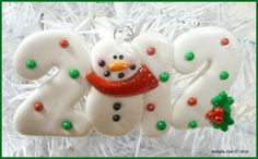 NEW Polymer Clay Ornament 2012 Snowman by michellesclaybeads