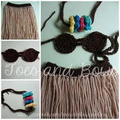 Hula Girl Photo prop, Size 0-6m www.facebook.com/toesandbowsonline #photo #prop #affordable #crochet