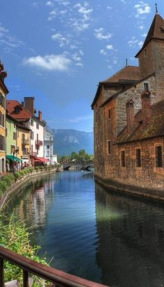 The River Thiou flowing through Annecy in the Rhone Alps, France
