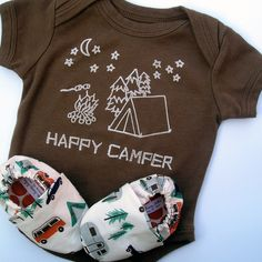 Happy Camper Organic Onsie & Shoes Set for Boy or Girl, by GrowingUpWild $48.00