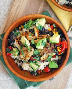 Fish Taco Bowls: brown rice + grilled fish + avocados + black beans