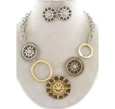 Uniklook Silver & Gold decorative Metal Link Statement Jewelry Necklace Earrings $19.99