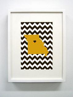 University of Missouri Giclée Print- 8x10 - Mizzou - Go Tigers. $14.00, via Etsy.