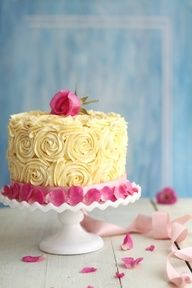Pale Yellow and pink rose cake