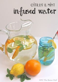 Citrus & Mint Infused Water by iheartnaptime #Water #Flavored_Water #Citrus #Mint