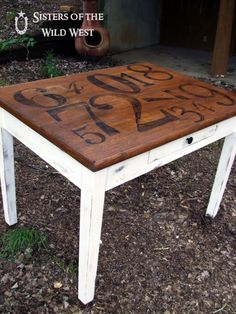 number table--great for kid's room or a sidetable...the numbers are unexpected and give a vintage look