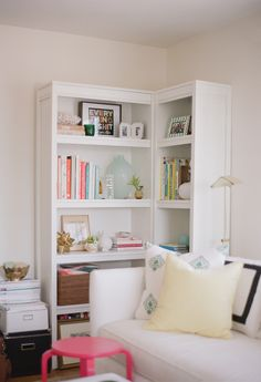 corner bookshelf inspiration | Coco Kelly Home Tour on SMP | Photography: Katie Parra - katieparra.com