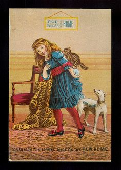 Girl with Greyhound Kitty Cat Victorian Trade Card New Home Sewing Machines