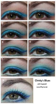 Sugarpill Blues tutorial. Click through to see!