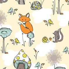 forests, scamper, birches, organic cotton, fox, forest friends, kid rooms, prints, fabric