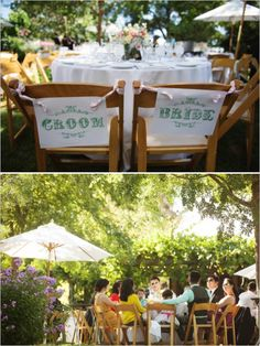 wedding chicks bride and groom chair signs #freeprintables #DIY #weddingchicks http://www.weddingchicks.com/2014/01/03/mint-and-coral-wedding/