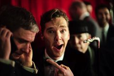 Possibly my new favorite photo of Benedict Cumberbatch  and Martin Freeman. (At the Hobbit premiere in Berlin.)